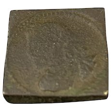 Square Bronze James I Coin Antique Jacobean 1603
