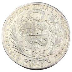 Silver 5 Decimos Peruvian Coin Vintage 1925