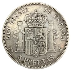 Silver 5 Pesetas Alfonso XIII Spain Antique 1891
