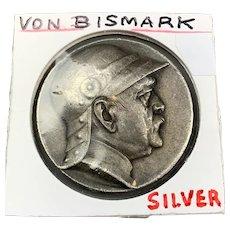 German Silver Medal Otto Von Bismark Antique 1895