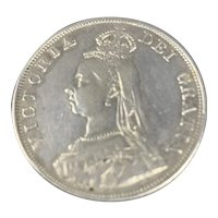 English Coin Double Florin Jubilee Head Victoria 1890 Antique