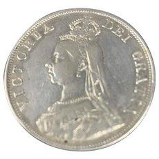 English Coin Double Florin Jubilee Head Victoria 1890 Antique