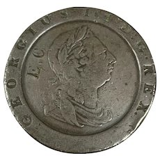 English Coin George III Cartwheel 2 D Birmingham Soho Mint Antique 1797