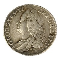 Six Pence Silver Coin George II Antique Georgian 1757