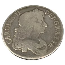 Silver Charles II Crown Octavo Third Coin Antique 1676