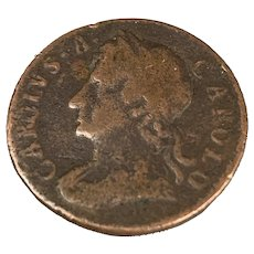 Charles II Bronze Coin 1/2 Farthing Antique 1675