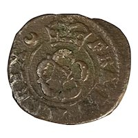 Bronze Charles I Rose Farthing Coin Antique 1625 To 1649