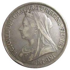 Queen Victoria Crown W Head LVI Antique c1893