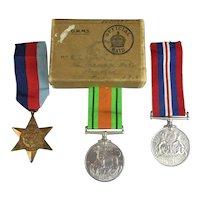 Attributed WW2 British Royal Navy Medal Trio Vintage c1946