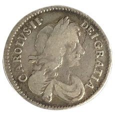 Charles II of England 3 Pence Antique c1673