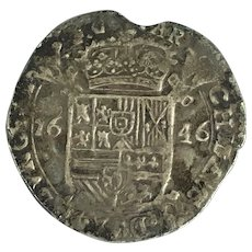 Philip IV 1621-1665 The Counties Of Flanders Sterling Silver Escalin Antique c1646
