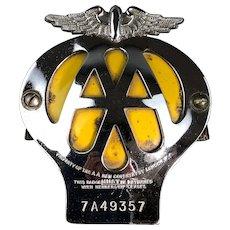 AA Badge Automobile Association Yellow Silver Original Vintage c1950