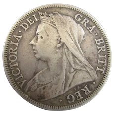 Sterling Silver Queen Victoria Half Crown 1896.