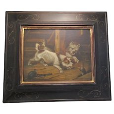Framed Oil Painting 'Terriers' By Follower Of George Armfield Antique C 1800s