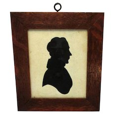 Oak Framed Silhouette Miniature Portrait Antique C1800