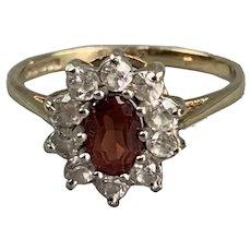 9k Gold Garnet And Cubic Zirconia Ring Antique Victorian c1890