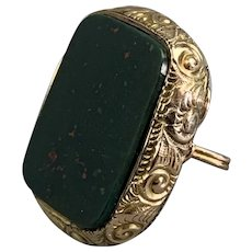 9k Gold Fob Seal With Green Bloodstone Antique Victorian c1890