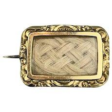 9k Gold Mourning Brooch Antique Victorian c1840