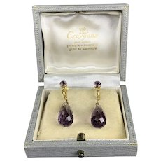 9ct Gold And Amethyst Pair Of Dangling Earring Vintage Art Deco c1920