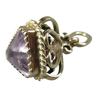 9ct Gold & Amethyst Pendant Fob Antique Edwardian c1915