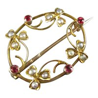 9ct Gold Brooch with Ruby & Seed Pearls Antique Victorian c1890