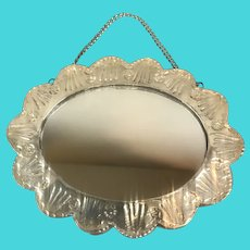 Sterling Silver Continental 900 Small Hanging Mirror Vintage c1960