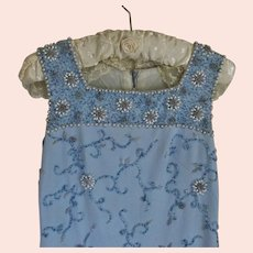 Light Blue Beaded Evening Dress Vintage c1970