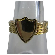 9k Gold & Twilled Silk Mourning Ring Contemporary c1978