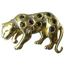 9k Gold Sapphire & Diamond Leopard Brooch Pin Contemporary c2000