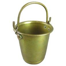 Miniature Brass Bucket Match holder & Striker Vintage c1930