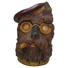 Novelty Ceramic Dog's Head Tobacco Jar Antique Victorian c1880.
