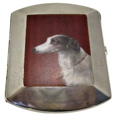 Silver & Enamel Saluki Dog Cigarette Case Antique c.1900.
