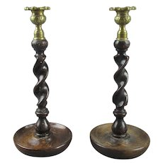 Pair Of Barley Twist Oak And Brass Candlesticks Antique Victorian C1890.