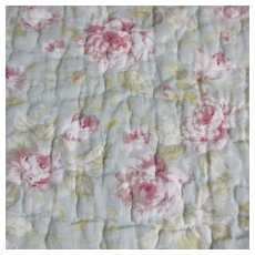 Quilted Cotton Wild Rose Pattern Bed Cover c1980