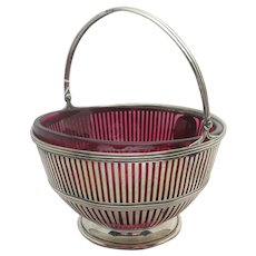 Sterling Silver Bowl with Cranberry Glass Antique Victorian 1900