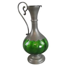 Art Nouveau Pewter and Green Glass Ewer c1890