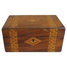 Tunbridge Ware Burl Walnut Box Antique Victorian c1880