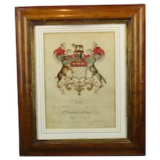 Hand Coloured Skinners Coat Of Arms Antique Georgian c1804