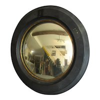 Small Convex Painted Mahogany Framed Mirror Antique c1850