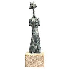 """Janos Szöke Limited Edition 1/10 Lady Bust Bronze """"Idol II"""" Budapest Hungary Vintage Signed c1970"""