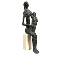 Janos Szöke Limited Edition 1/12 'Lany Macival' (Seated Woman And Child) Budapest Hungary Vintage c1970