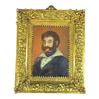 Miniature Portrait Of A Gentleman Antique Victorian c1860