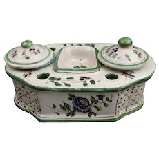 French Faience Earthenware Desk Stand Antique Victorian c1880