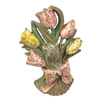 Tulip Flowers Cast Iron Door Stop Original Paint Vintage Art Deco c1930