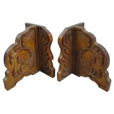 Hand Carved Oak Arts & Crafts Wooden Book Ends Antique c1900