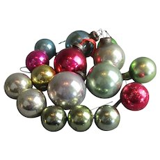Group of Small Glass Christmas Baubles Vintage c1930s