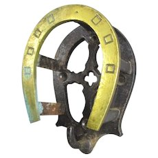 Small Cast Iron and Brass Horseshoe Tack Hook Antique c1880