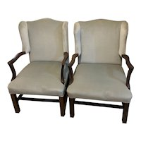 Pair Of English Plum Pudding Mahogany Open Arms Wing Back Chairs Antique Georgian c1740