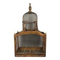 Brown Wood & Metal Bird Cage Vintage c1950