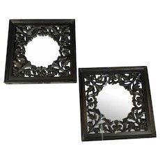 Pair Anglo Indian Ebonised Hardwood Mirrors Georgian Style Vintage c1960